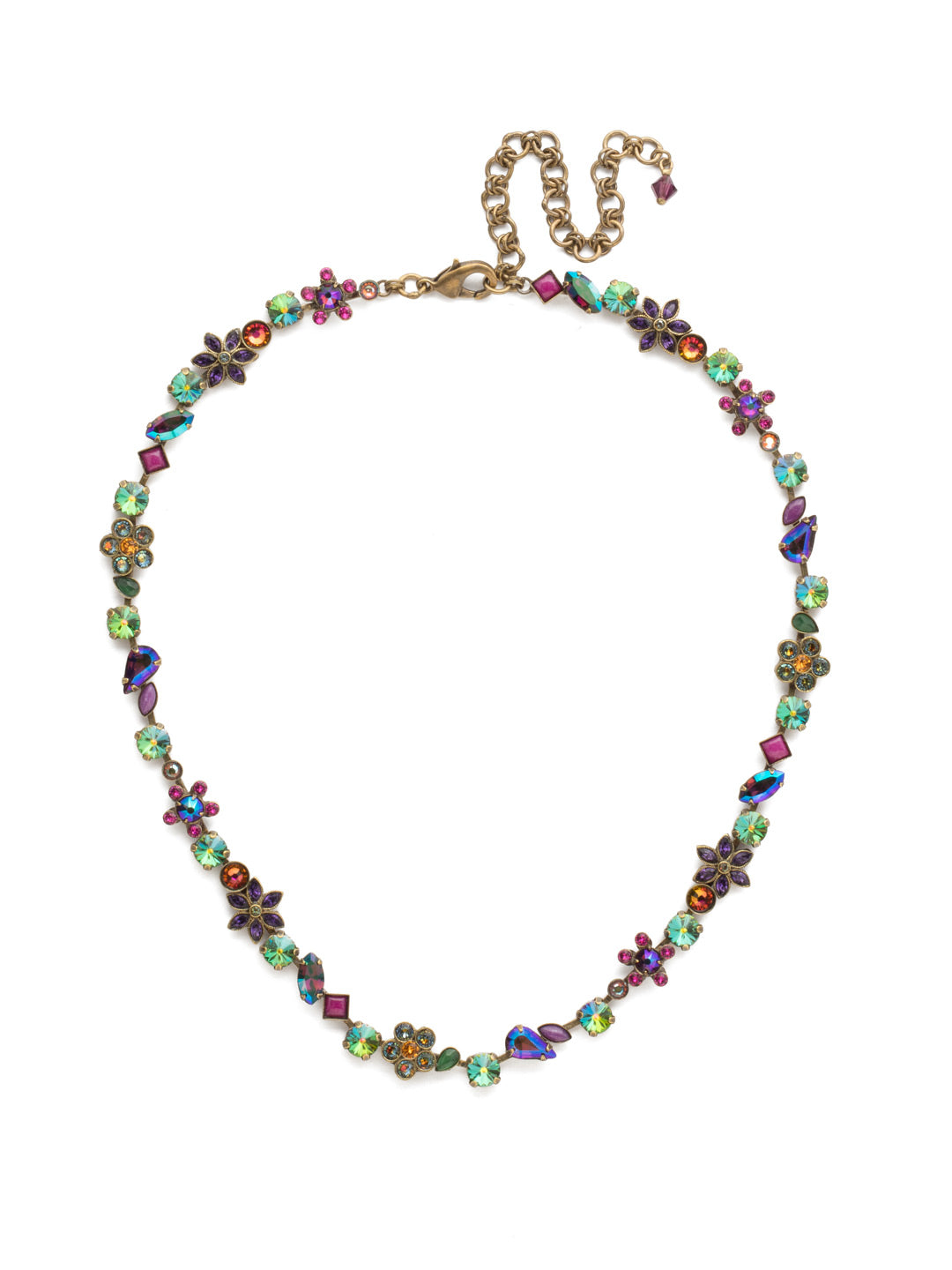 Classic Crystal and Opaque Stone Floral Tennis Necklace - NBL12AGVO