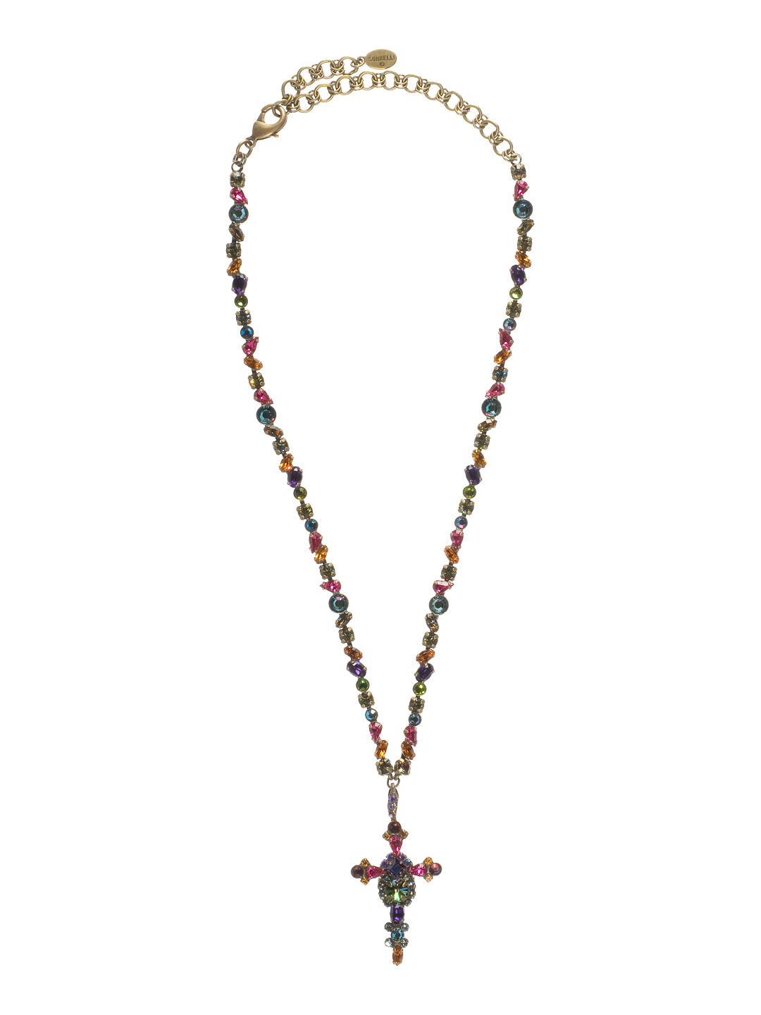 Bold Crystal Cross Necklace - NBN22AGVO