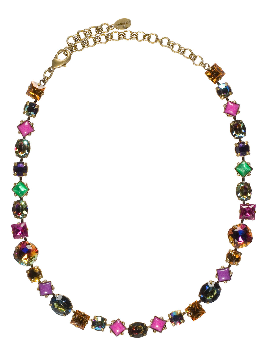 Bold Multi Shaped Large Crystal Necklace - NBP3AGVO