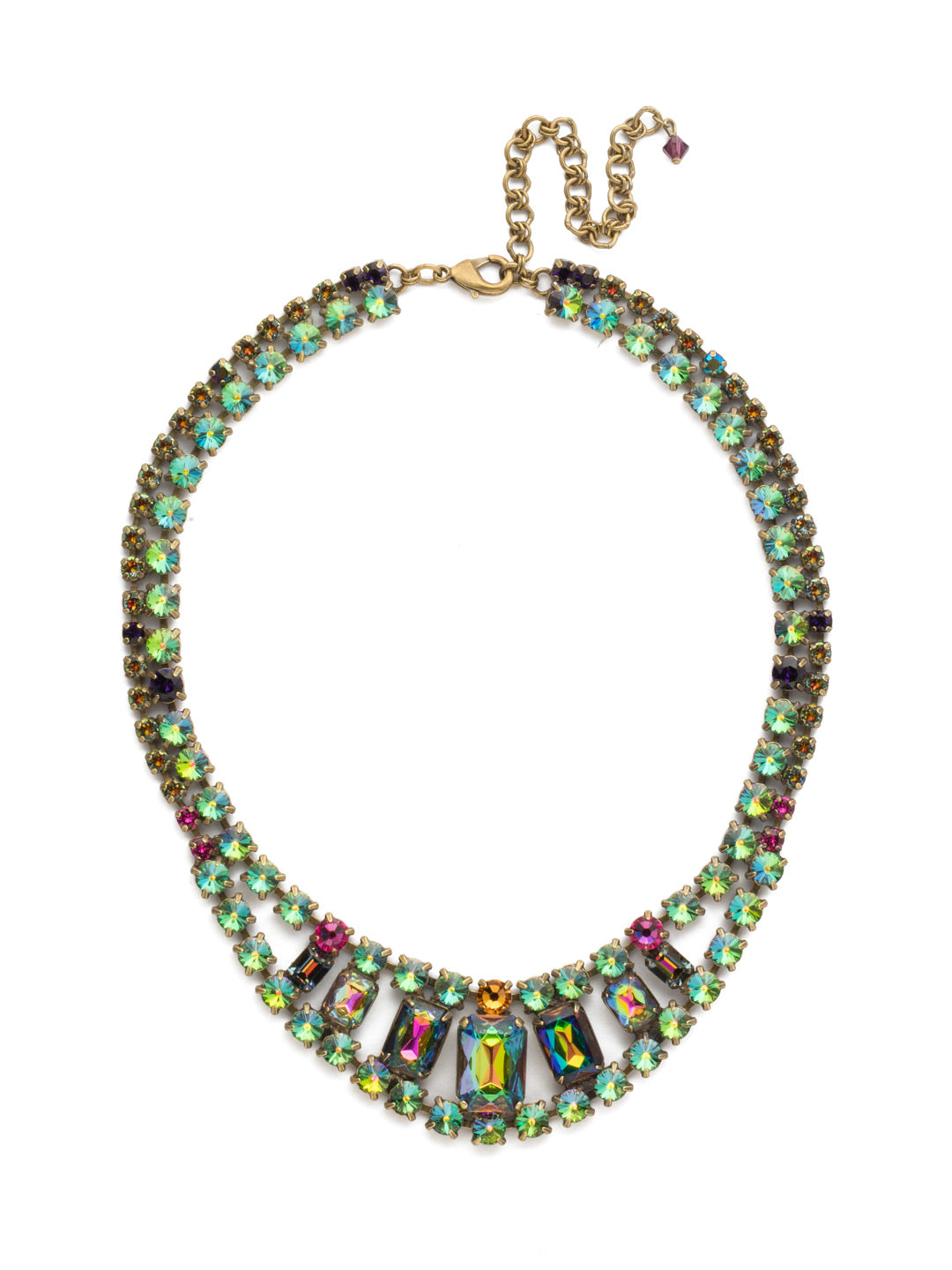 Crystal Double Row Octagon Statement Necklace - NBZ30AGVO