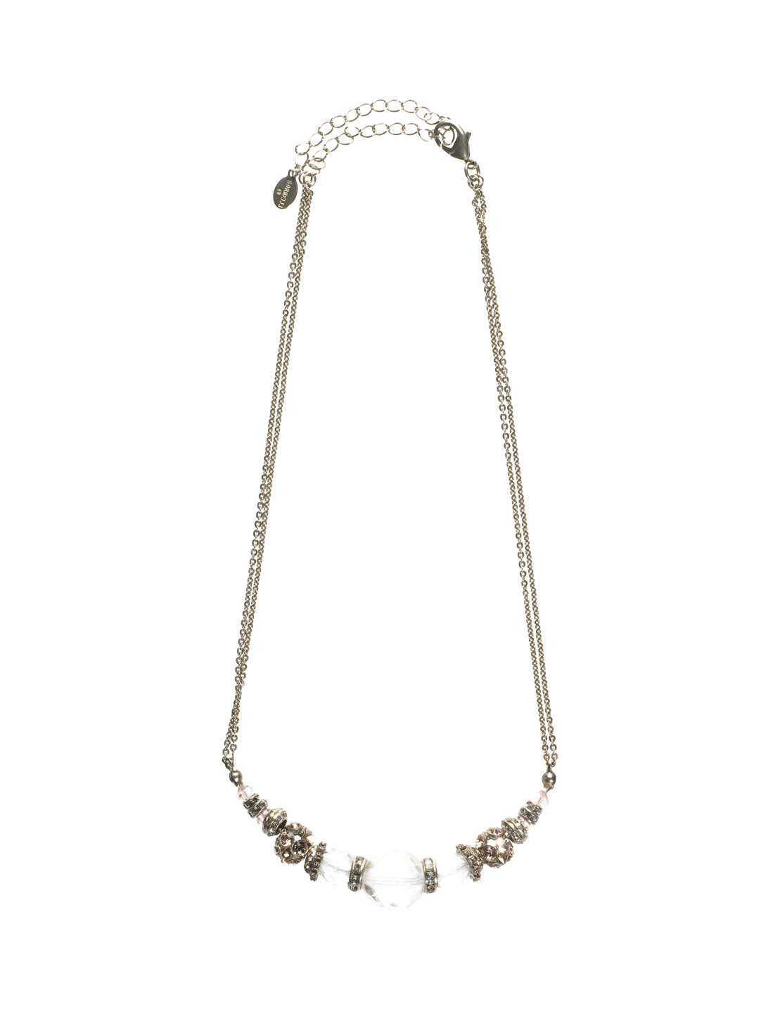 Crystal Beaded Chain Tennis Necklace - NCE5ASSNB