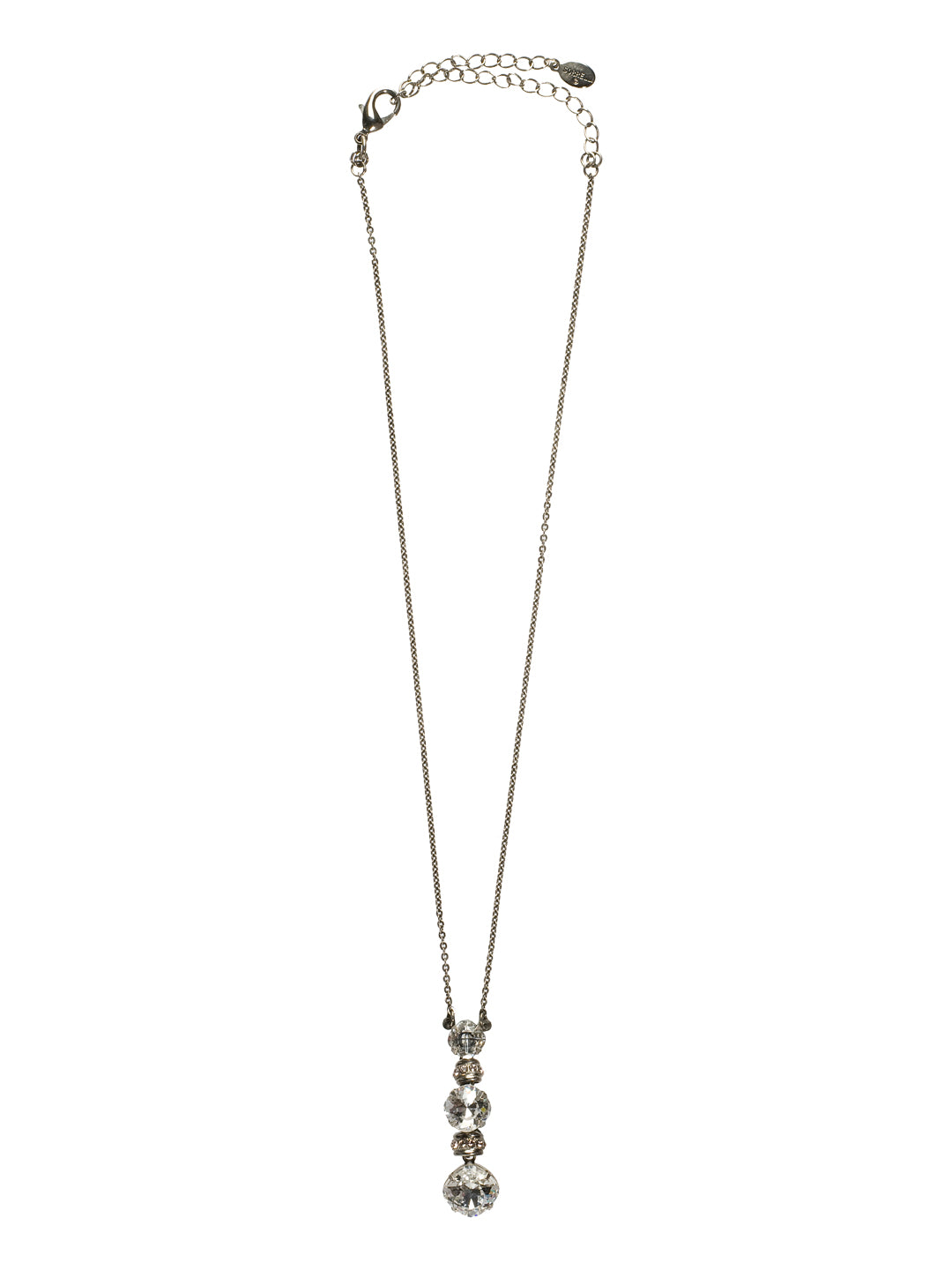 Three-Tiered Drop Crystal Pendant Necklace - NCF21ASSNB