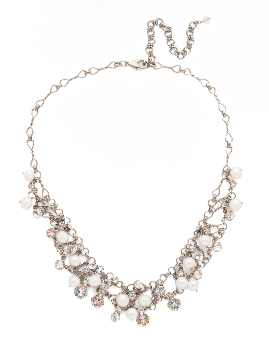 Clustered Crystal and Bead Tennis Necklace - NCF5ASPLS