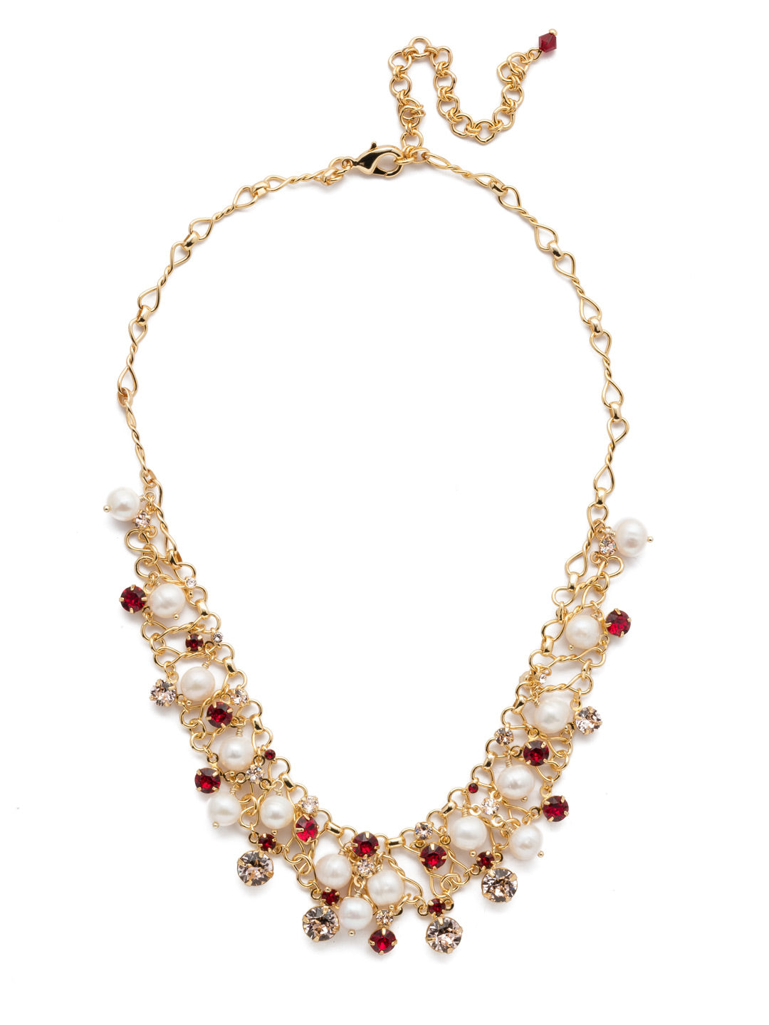 Clustered Crystal and Bead Tennis Necklace - NCF5BGSRC