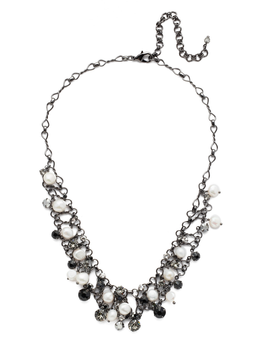 Clustered Crystal and Bead Tennis Necklace - NCF5GMMMO