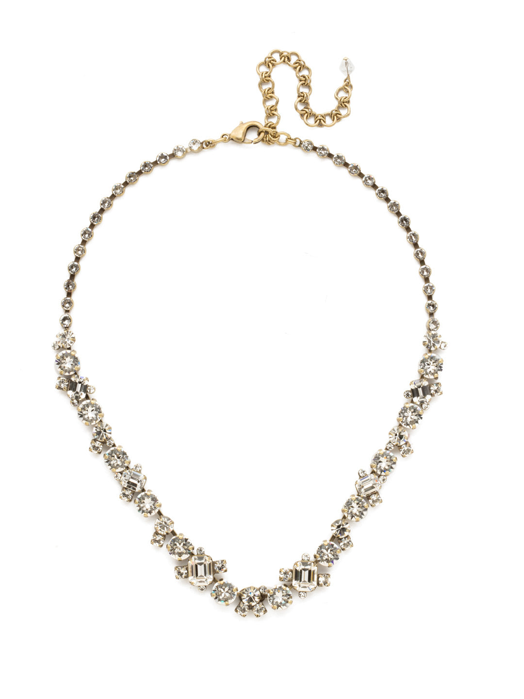 Glittering Multi-Cut Crystal Necklace - NCF6AGCRY
