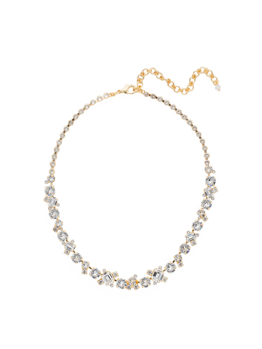 Glittering Multi-Cut Crystal Necklace - NCF6BGCRY