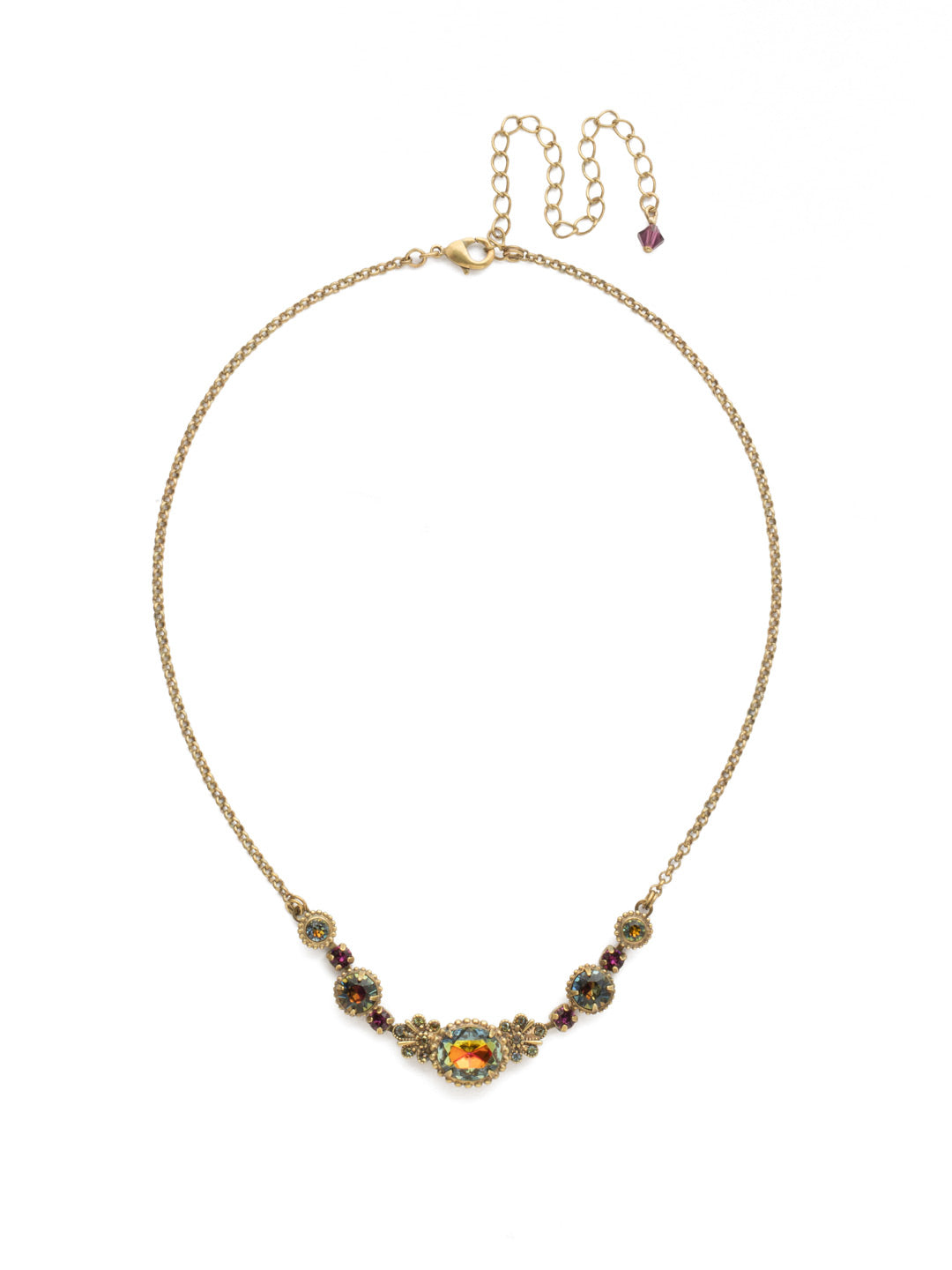 Clustered Circular Crystal Drop Tennis Necklace - NCJ30AGVO