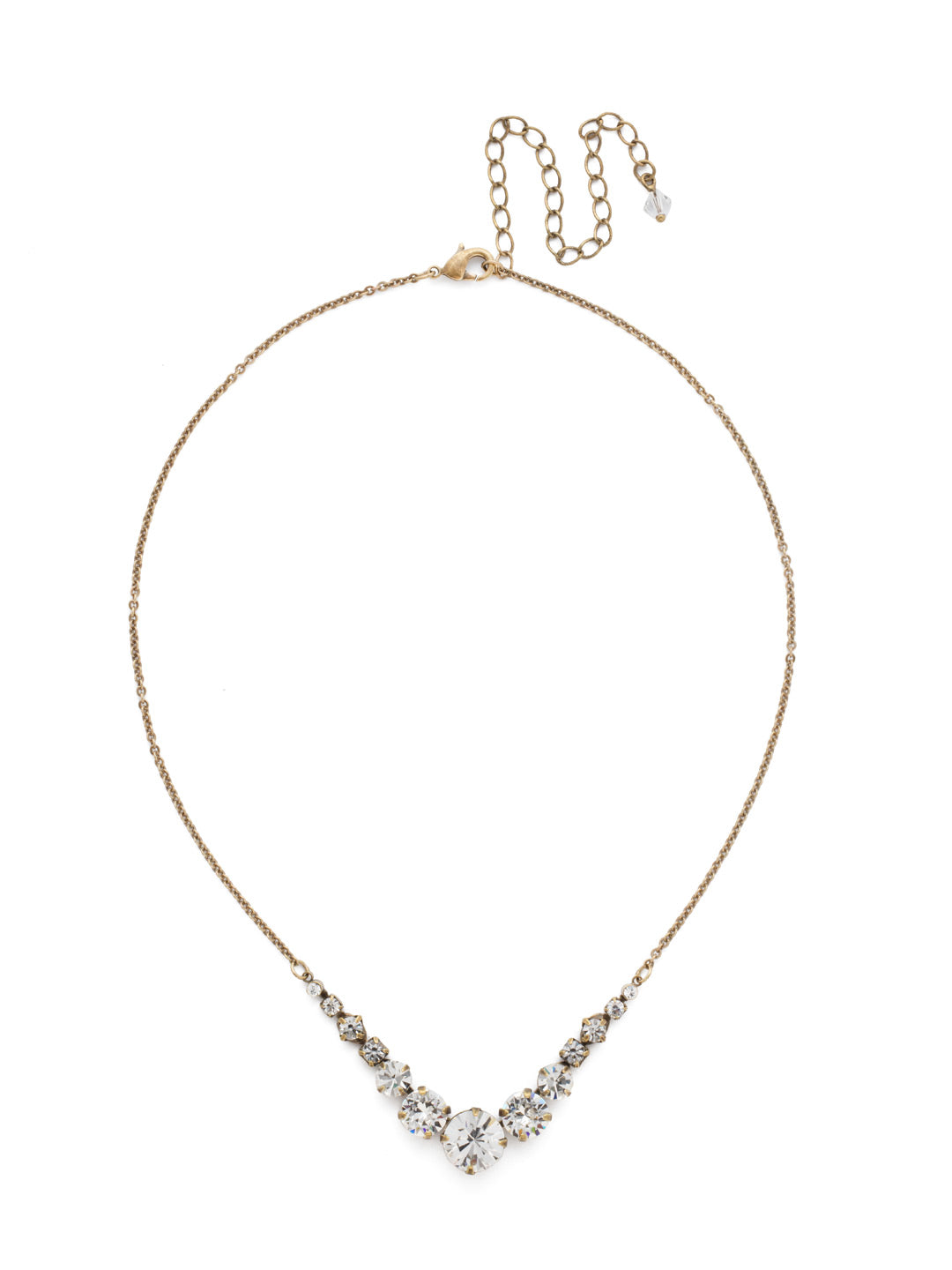 Delicate Round Tennis Necklace - NCQ14AGCRY