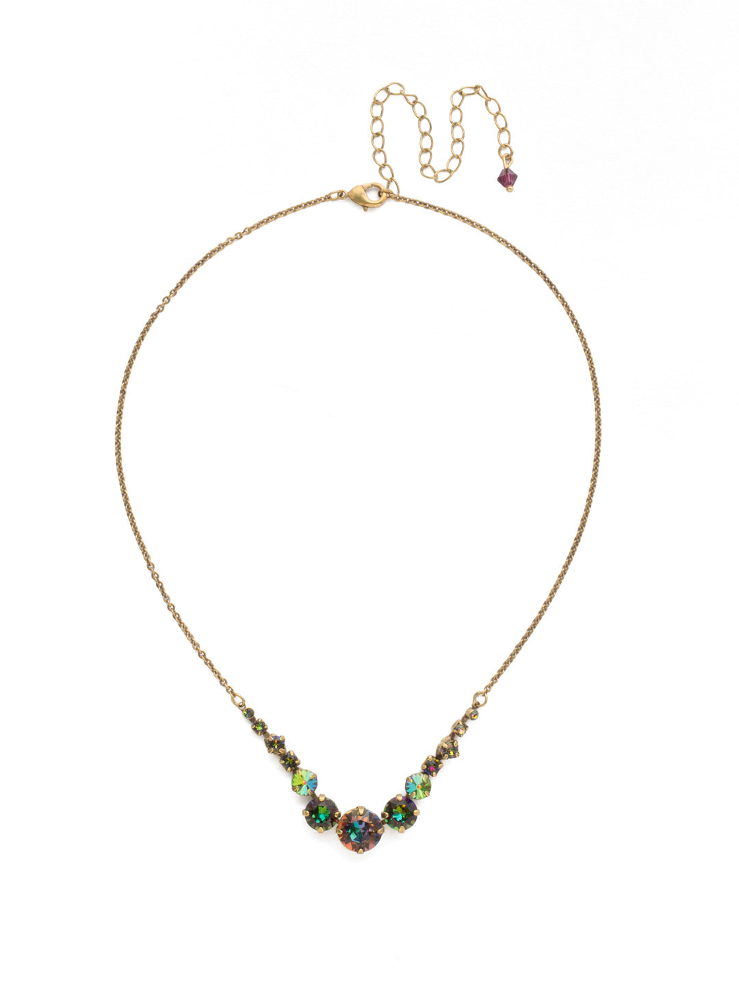 Delicate Round Tennis Necklace - NCQ14AGVO