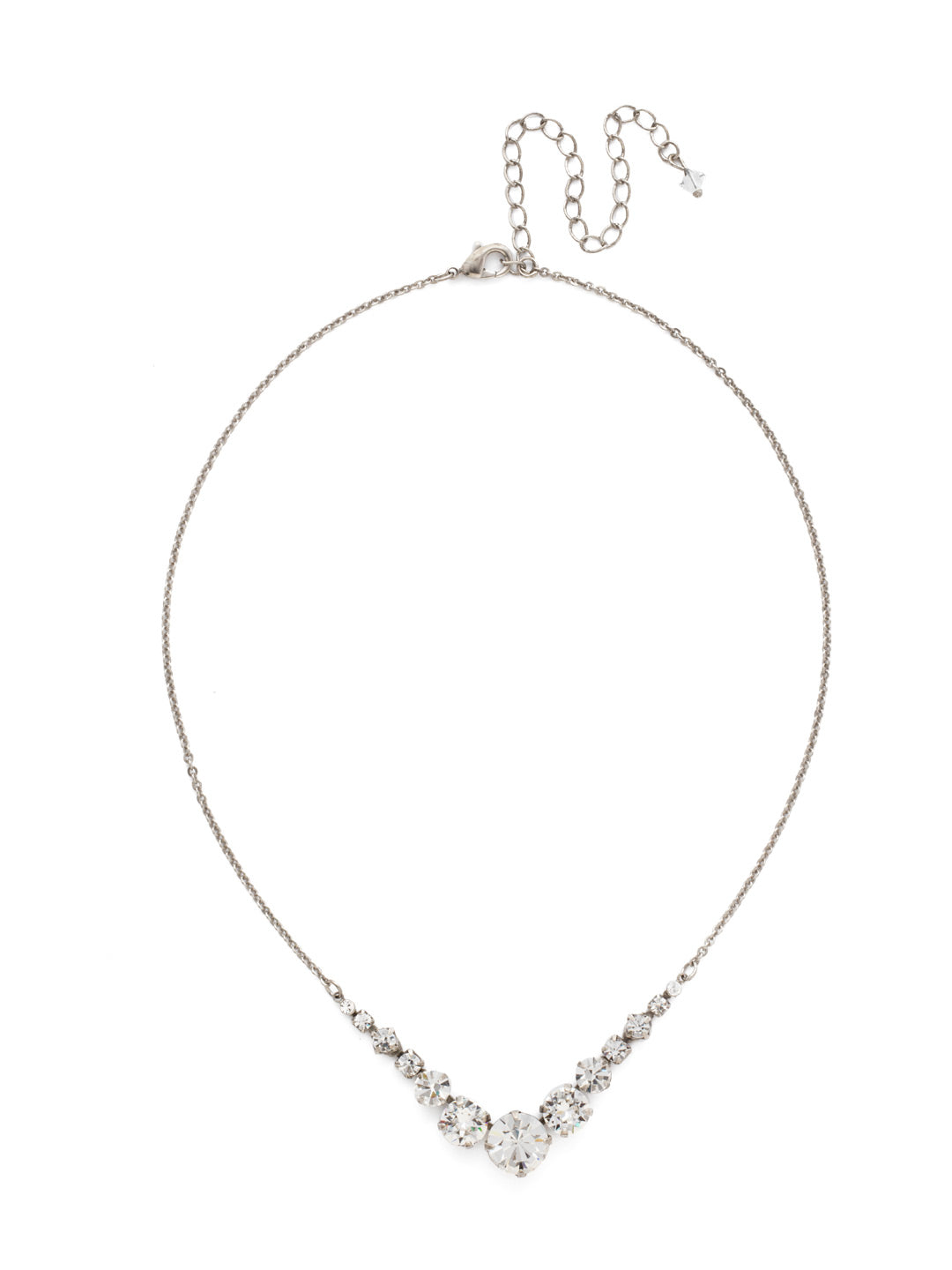 Delicate Round Tennis Necklace - NCQ14ASCRY