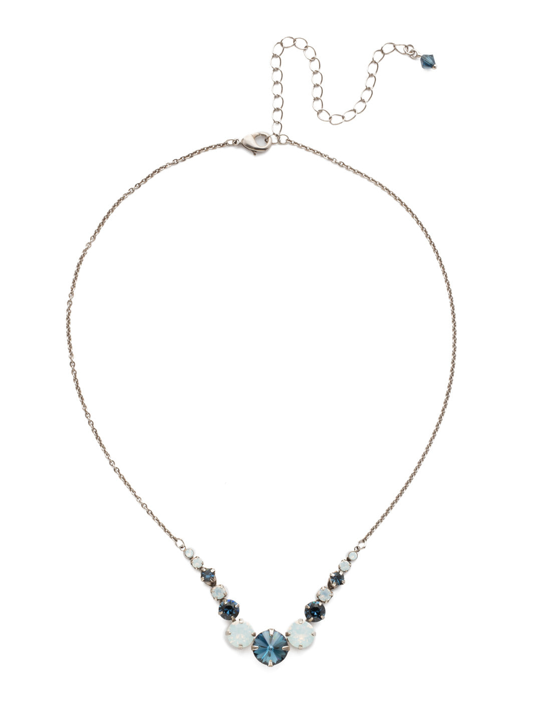 Delicate Round Tennis Necklace - NCQ14ASGBL