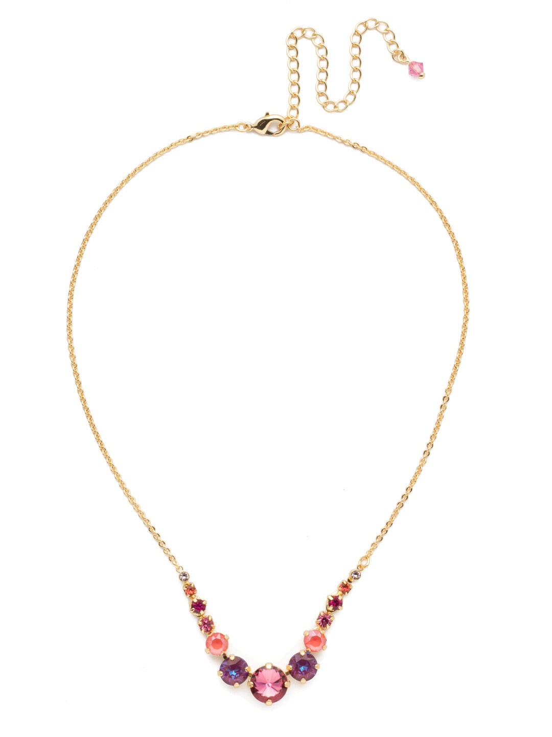 Delicate Round Tennis Necklace - NCQ14BGBGA