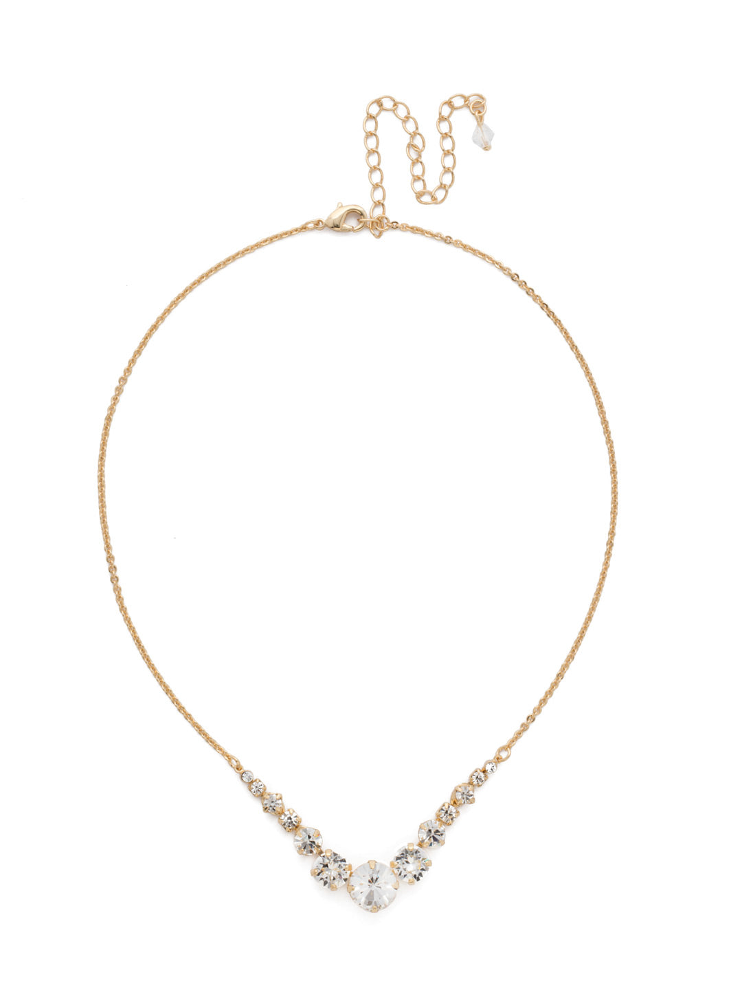 Delicate Round Tennis Necklace - NCQ14BGCRY