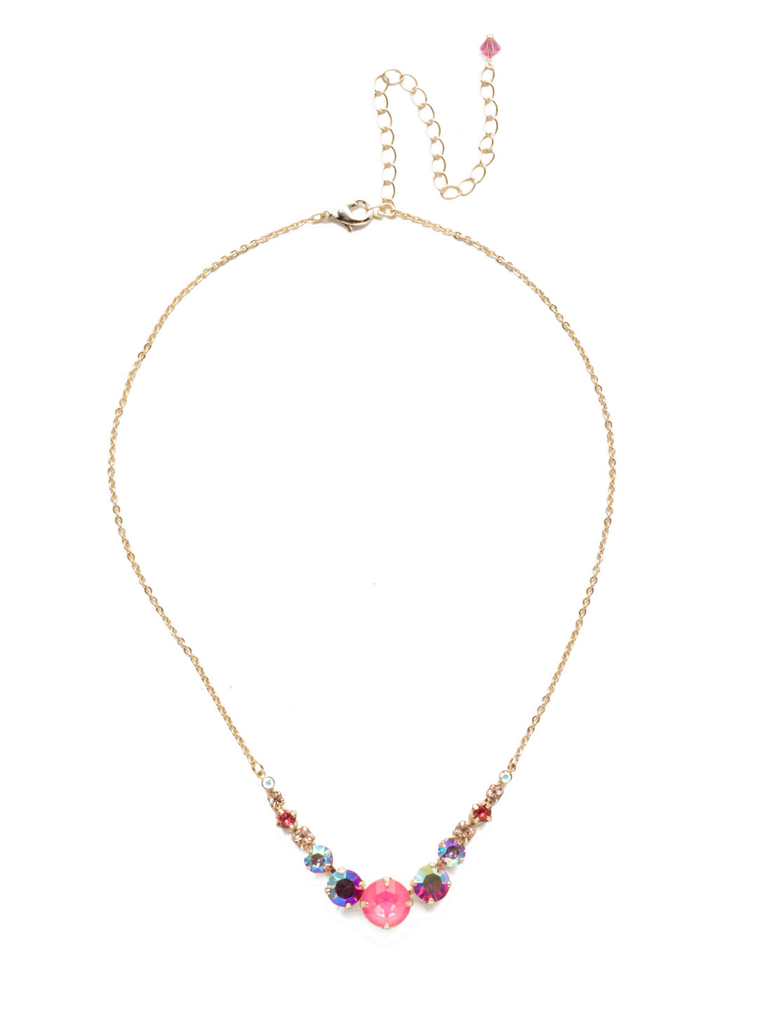 Delicate Round Tennis Necklace - NCQ14BGISS