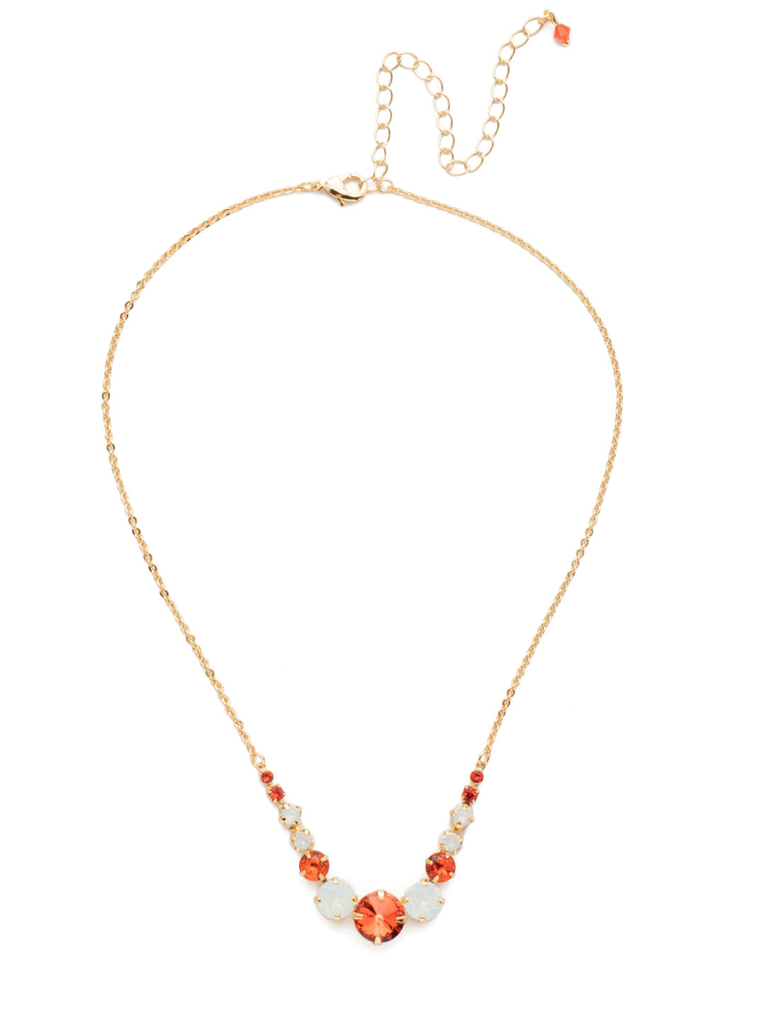 Delicate Round Tennis Necklace - NCQ14BGOCH