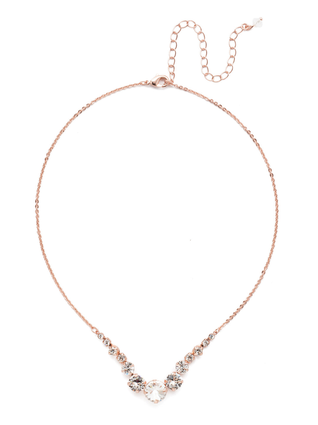 Delicate Round Tennis Necklace - NCQ14RGCRY