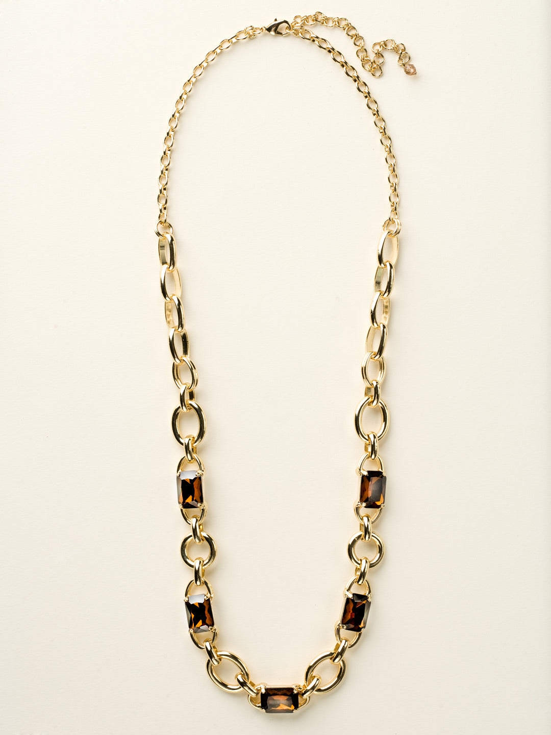 Bold Emerald and Chain Necklace - NCU14BGGOL