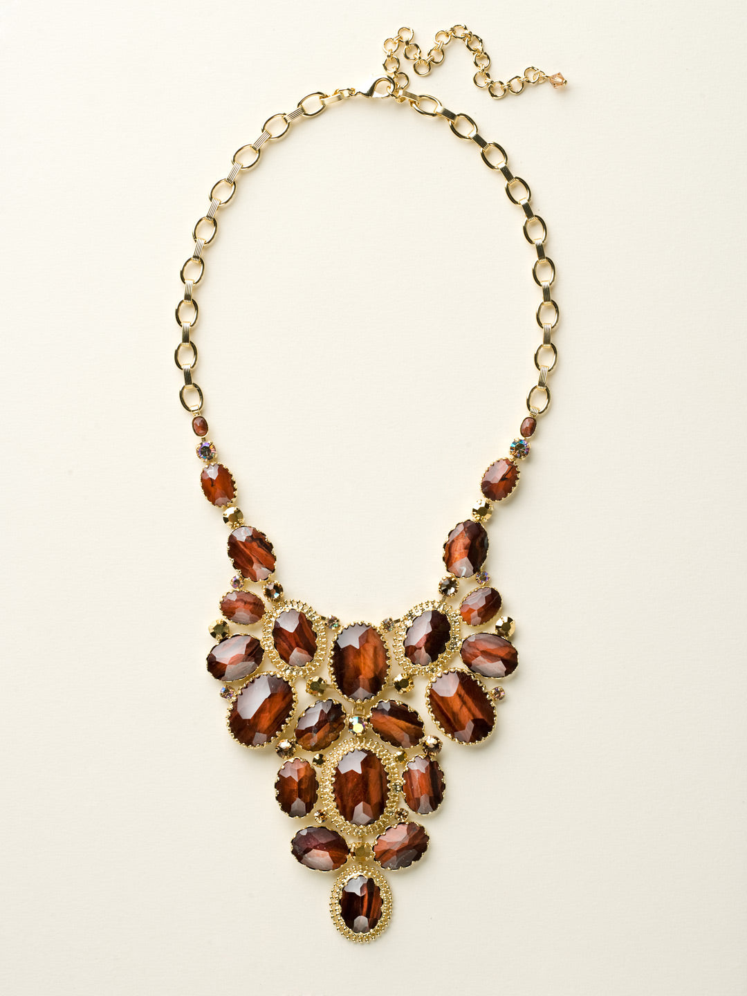 Cabochon Cluster Statement Necklace - NCU1BGGOL
