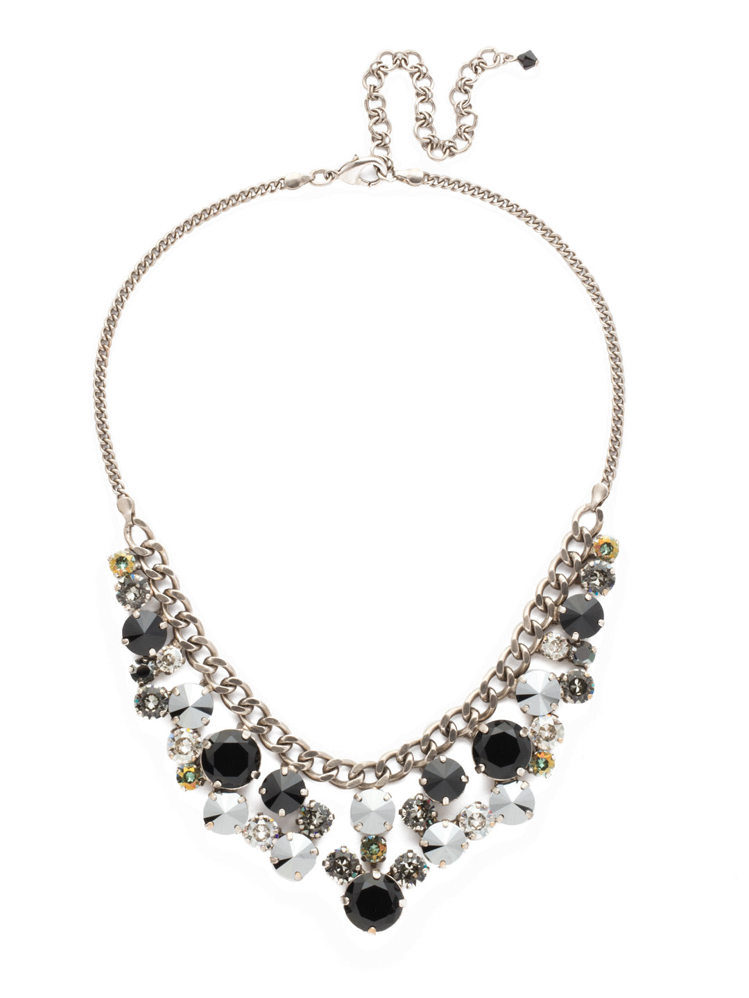 Round Crystal Cluster Bib Necklace - NCW10ASBON