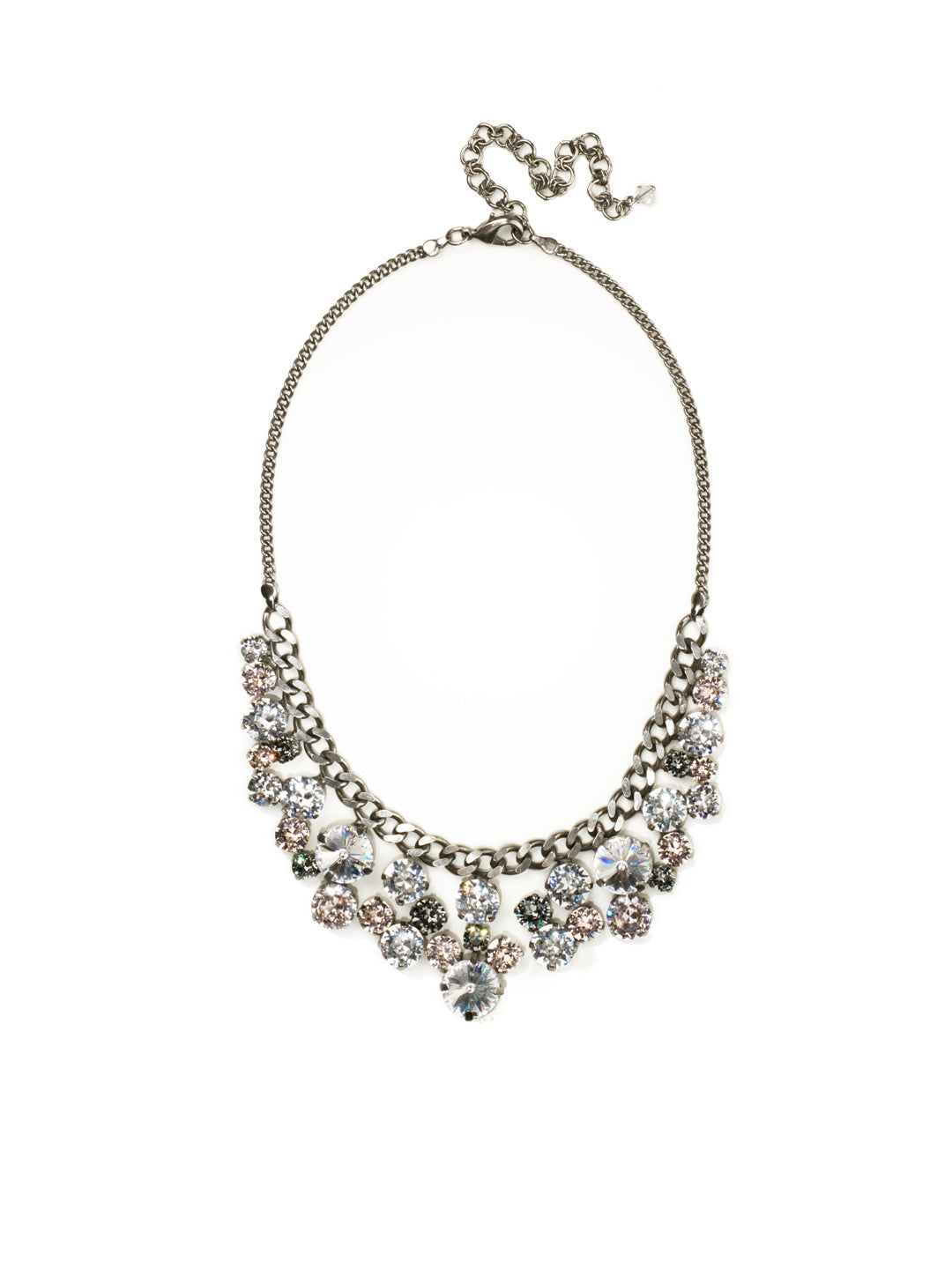 Round Crystal Cluster Bib Necklace - NCW10ASSNB