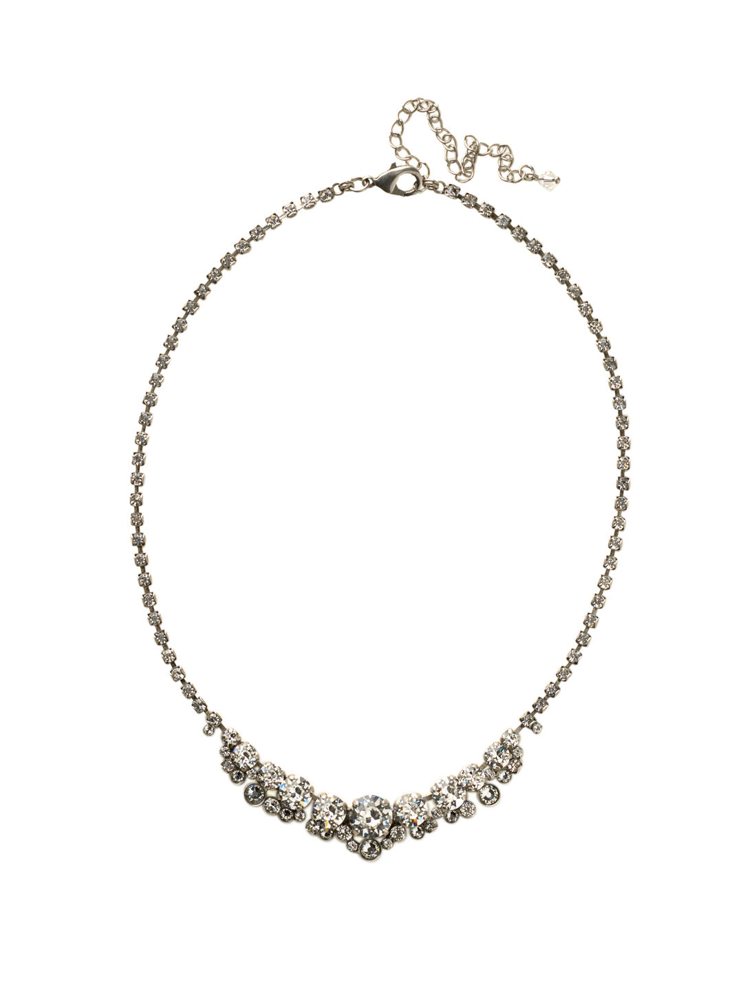 Multi-cut Round Crystal Cluster Line Necklace - NCW11ASCRY