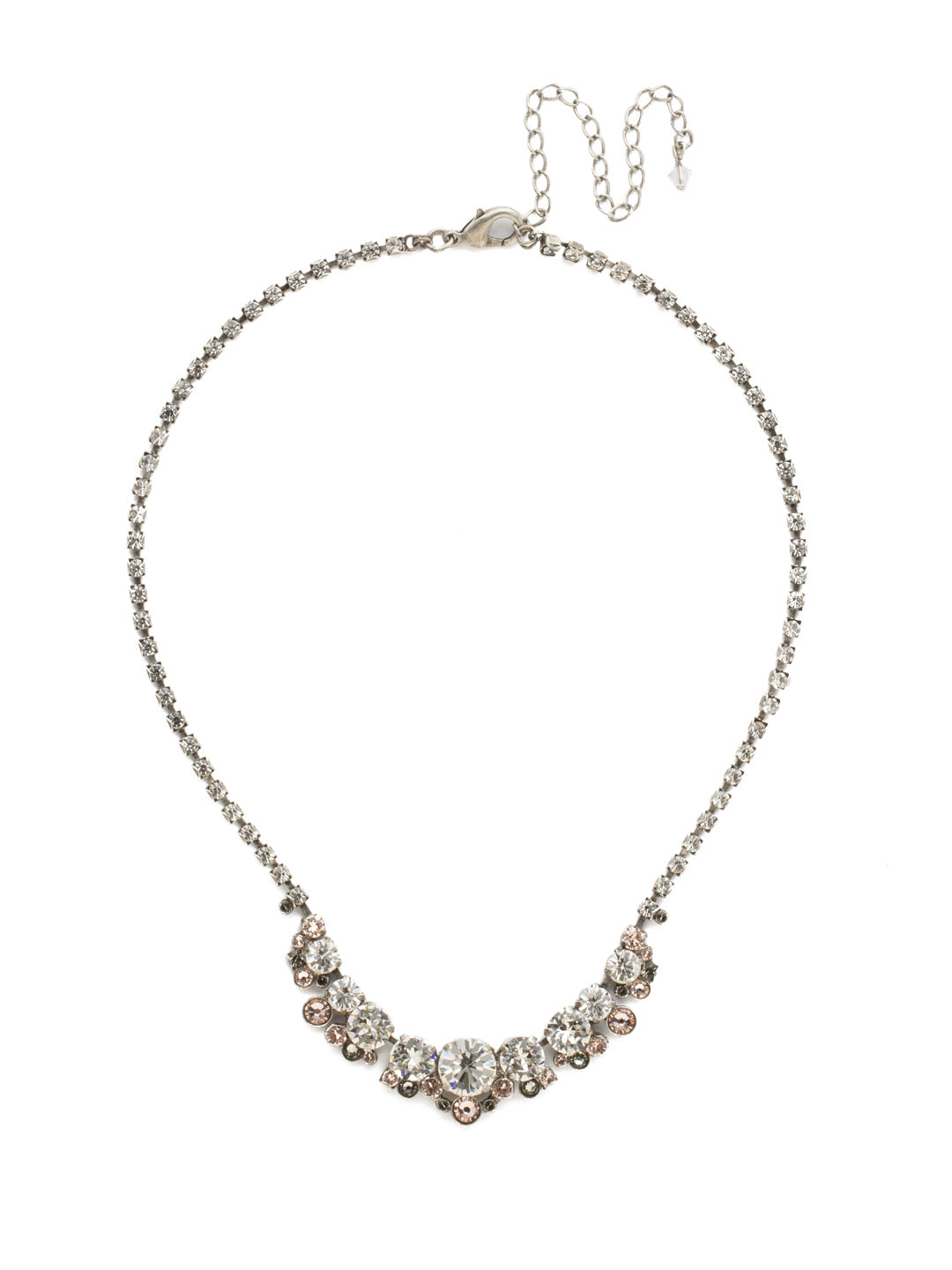 Multi-cut Round Crystal Cluster Line Necklace - NCW11ASSNB