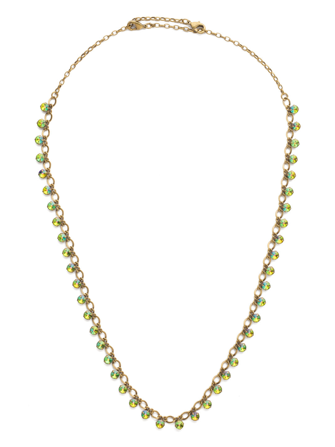 Classic Round Crystal Long Strand Necklace - NCW24AGVO