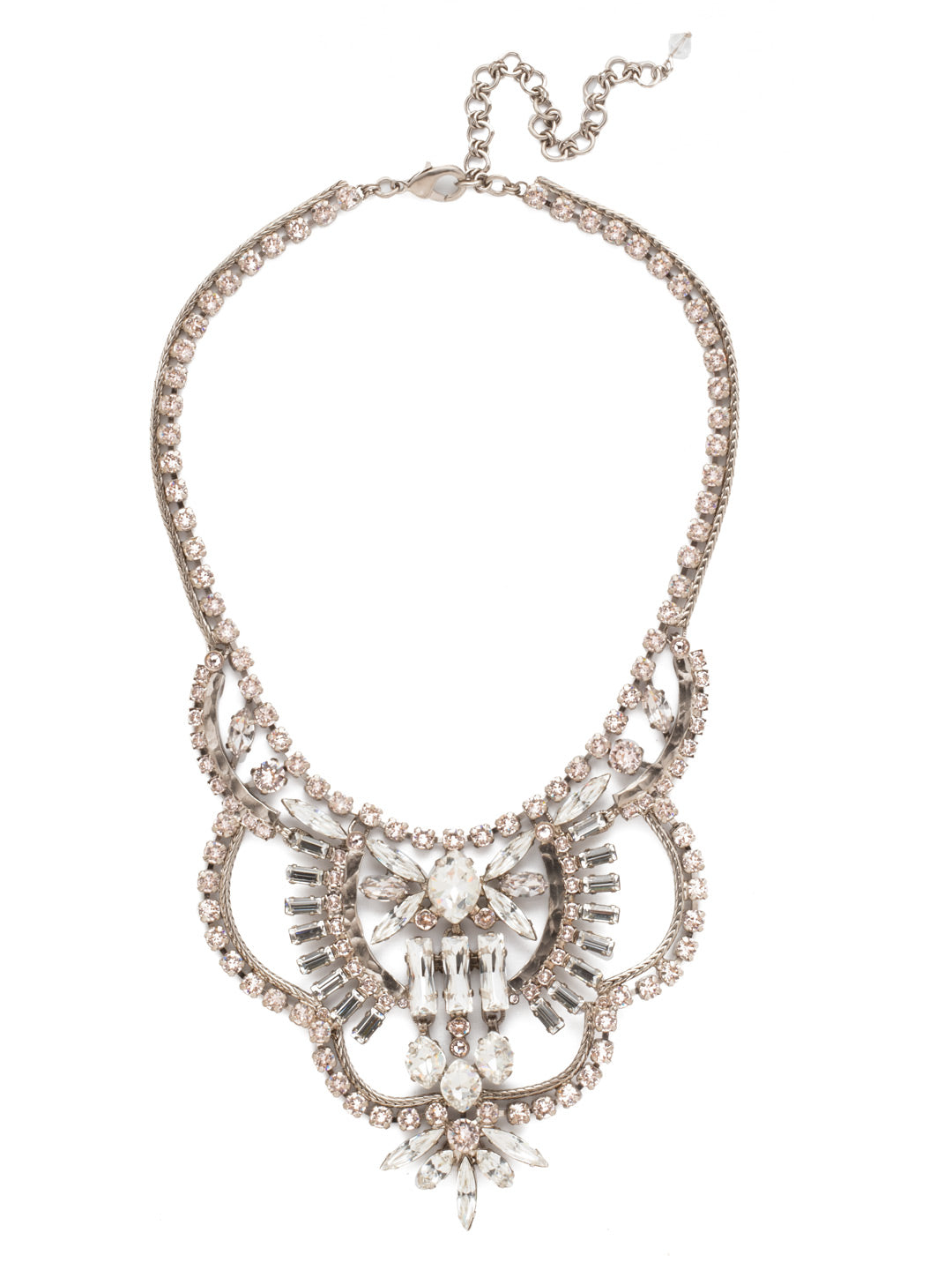 Scalloped Multi-Cut Crystal Statement Necklace - NCY16ASPLS