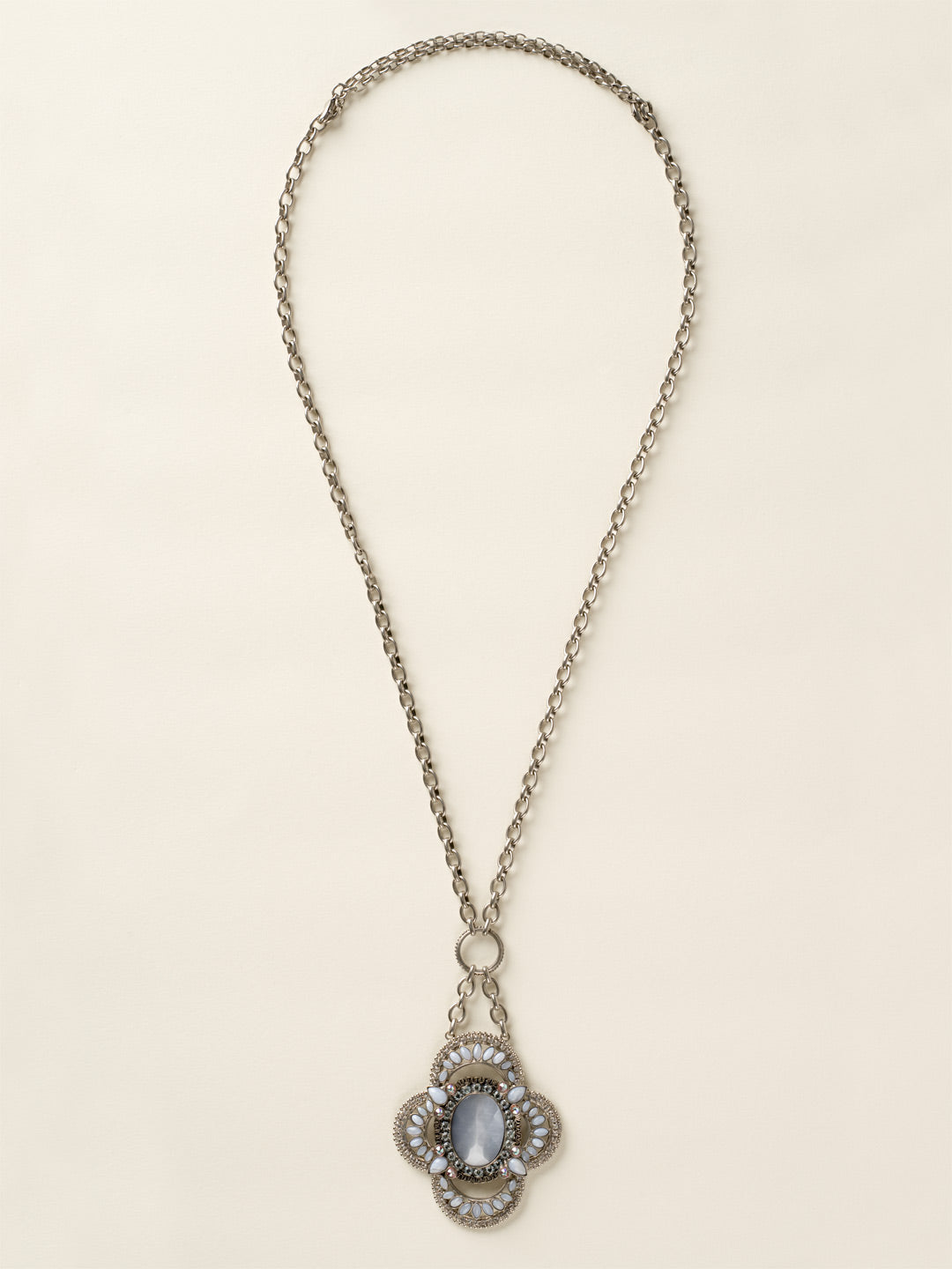 Crystal and Cabochon Medallion Necklace - NCY17ASSEA