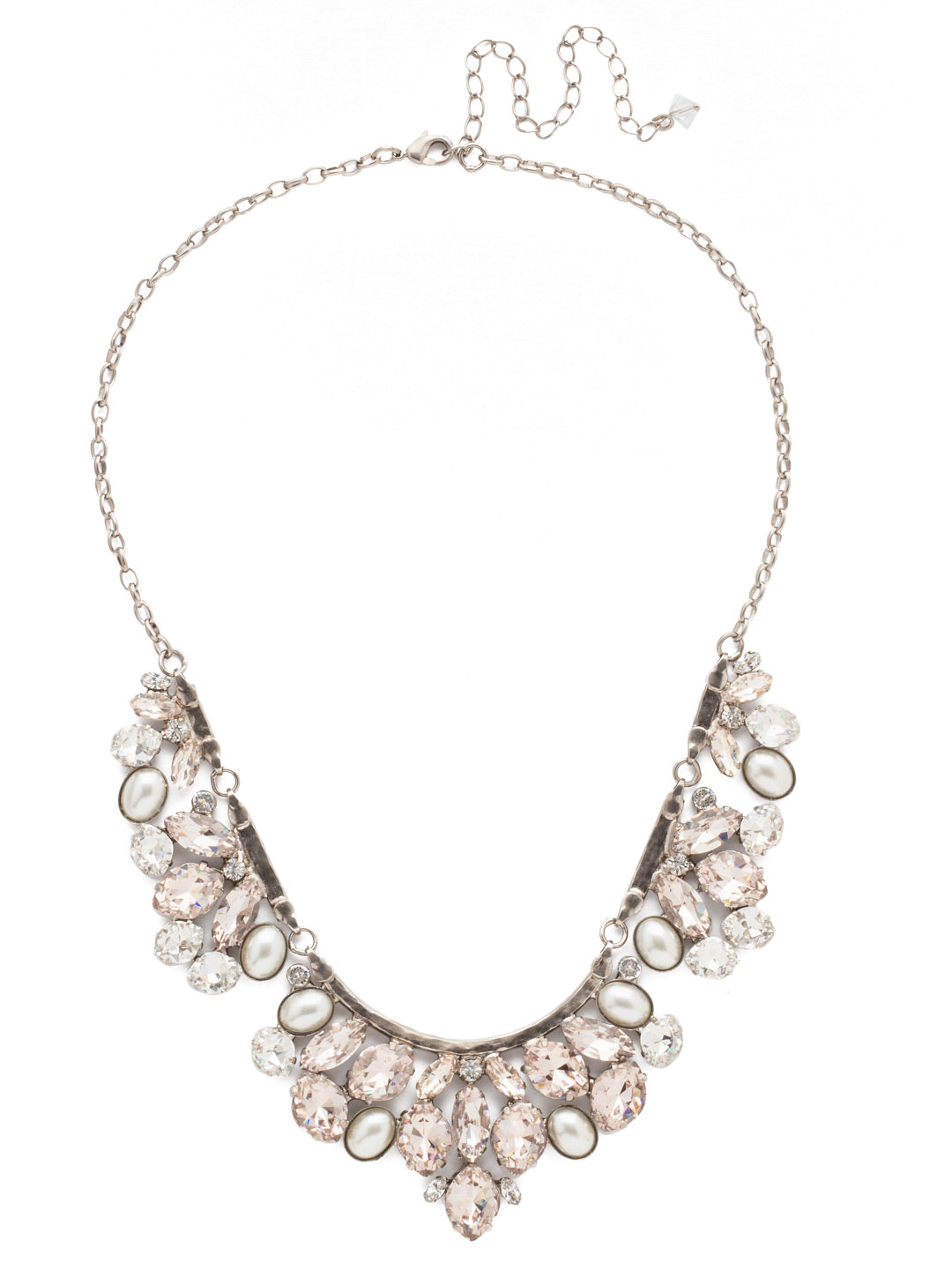 Floral Crystal Cluster Classic Necklace - NCY2ASPLS