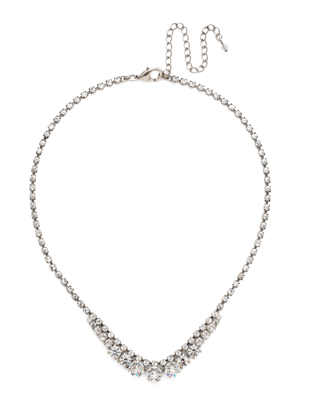 Round and Rhinestone Tennis Necklace - NDA14ASCRY