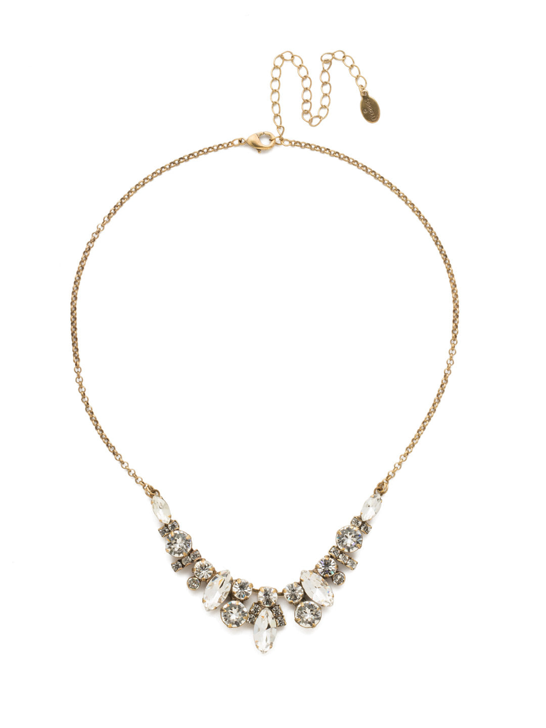 Noveau Navette Statement Necklace - NDG90AGCRY