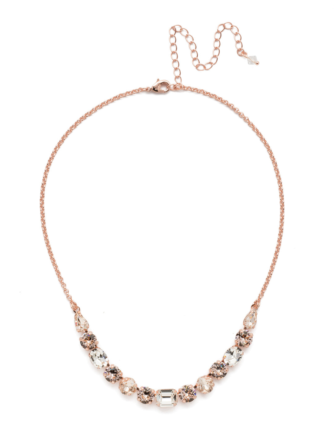 Tansy Half Line Tennis Necklace - NDQ14RGSNB