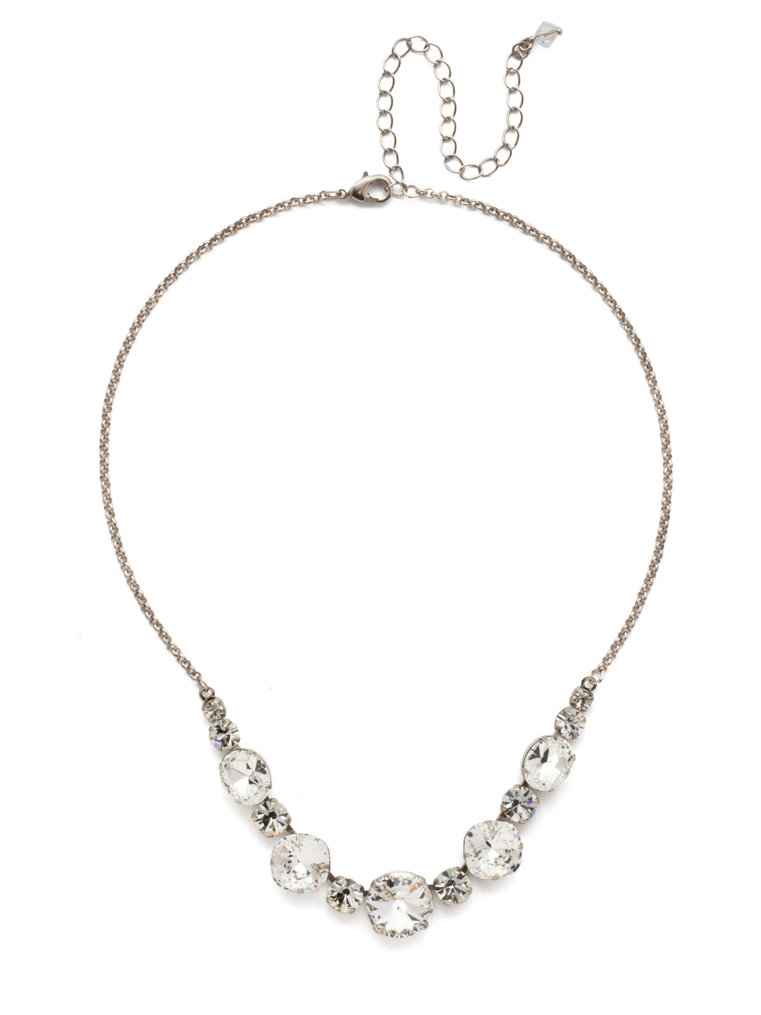 Half Circle Tennis Necklace - NDQ51ASCRY