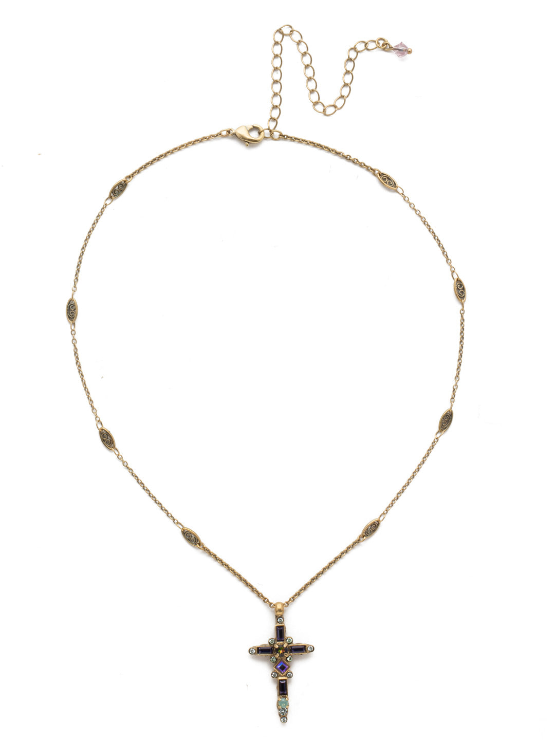Delicate Sliding Cross Pendant Necklace - NDQ54AGIRB