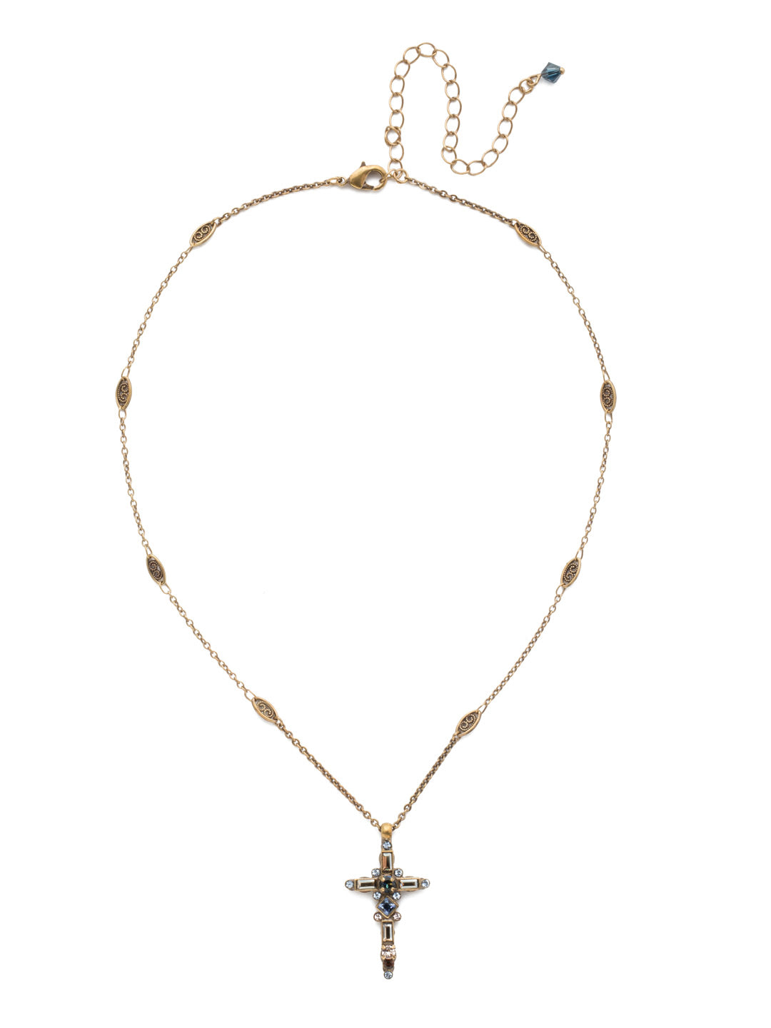 Delicate Sliding Cross Pendant Necklace - NDQ54AGSDE