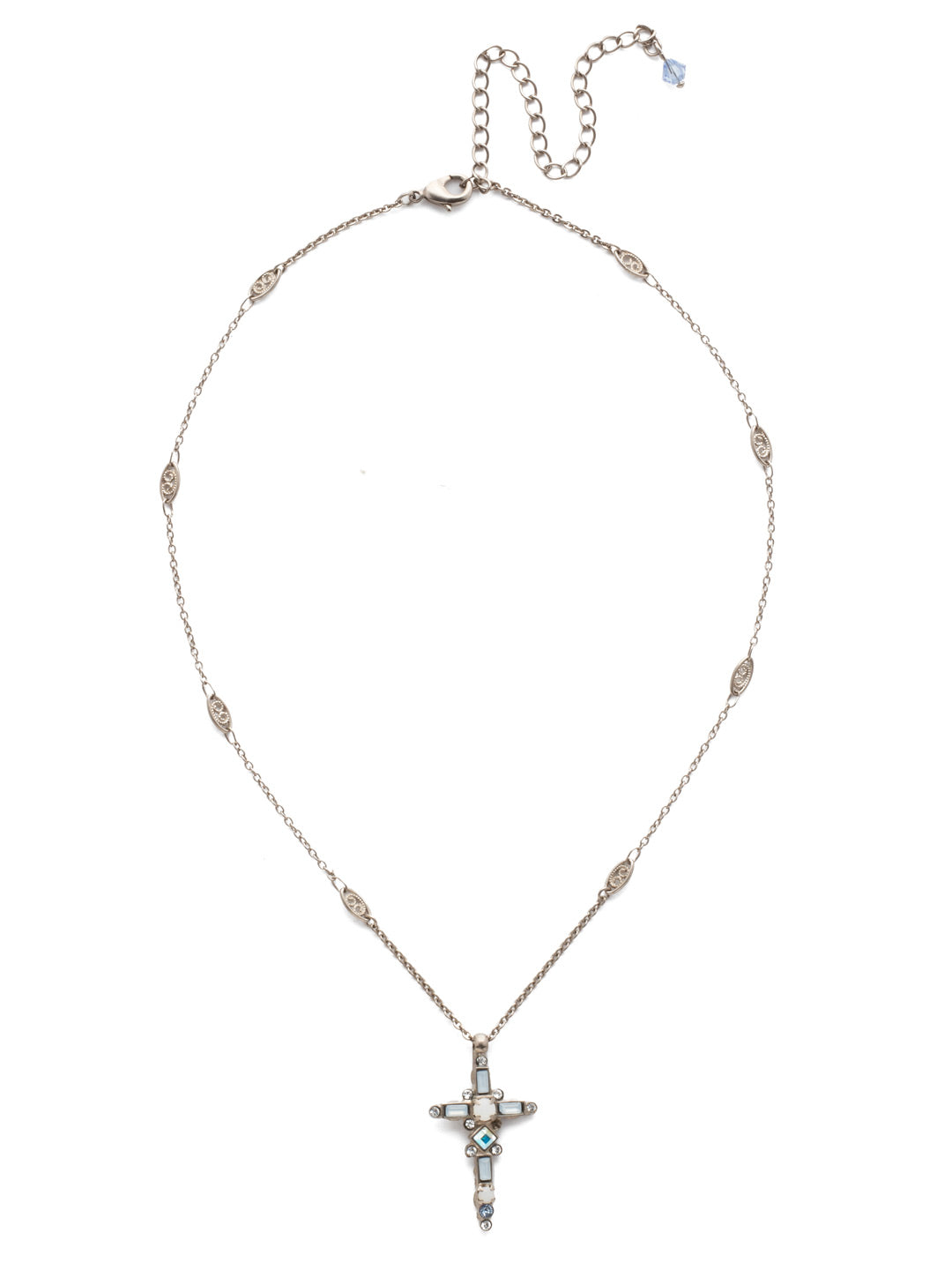Delicate Sliding Cross Pendant Necklace - NDQ54ASGLC