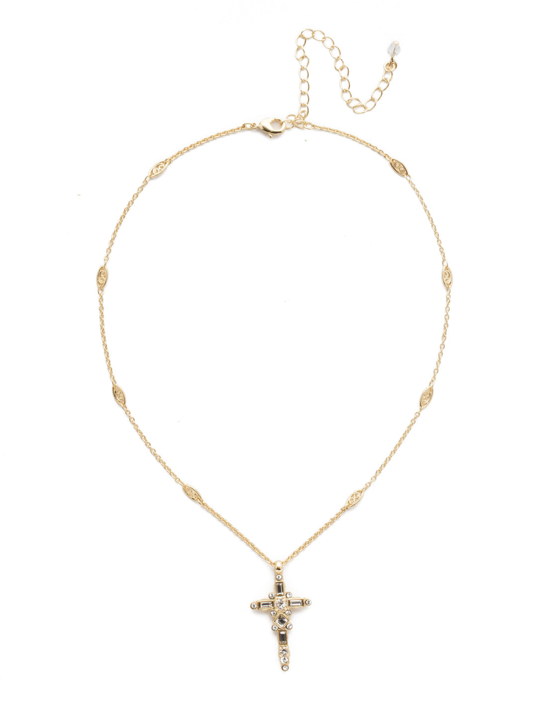 Delicate Sliding Cross Pendant Necklace - NDQ54BGCRY