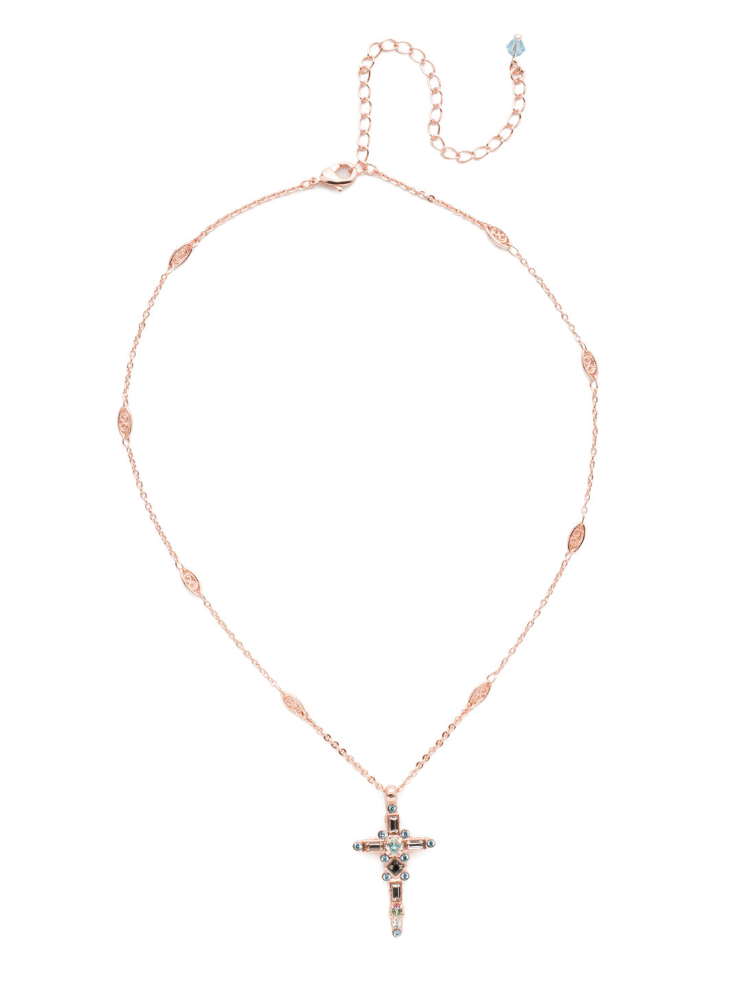 Delicate Sliding Cross Pendant Necklace - NDQ54RGCAZ
