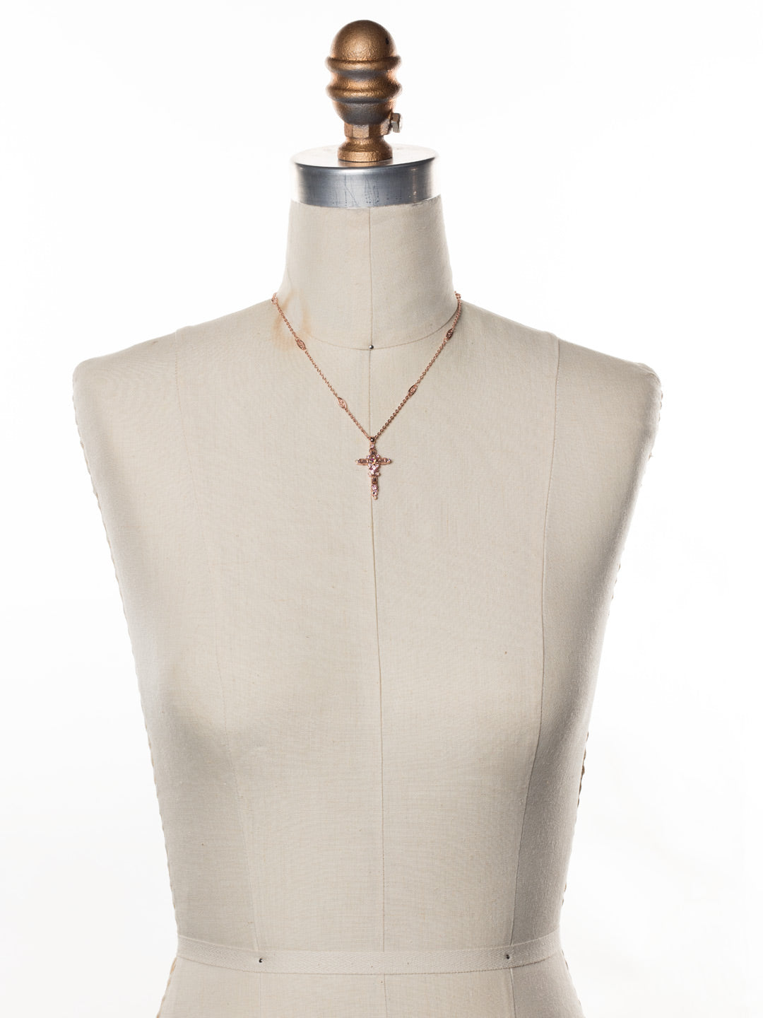 Delicate Sliding Cross Pendant Necklace - NDQ54RGLVP