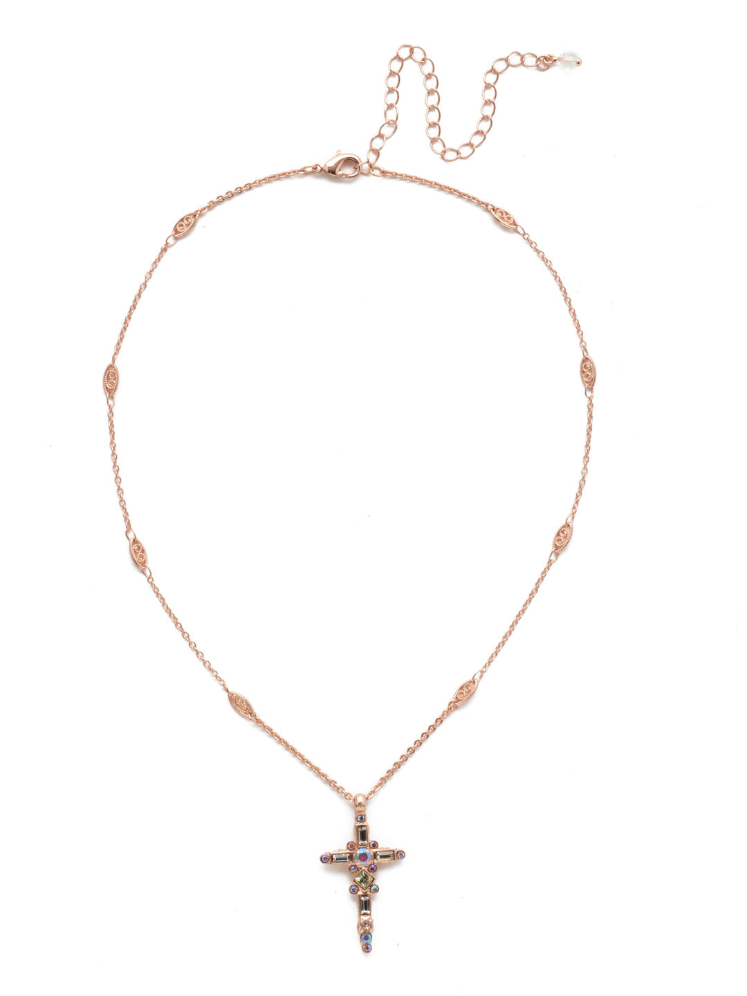 Delicate Sliding Cross Pendant Necklace - NDQ54RGROG