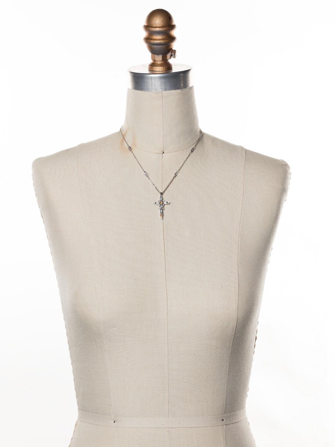 Delicate Sliding Cross Pendant Necklace - NDQ54RHNTB