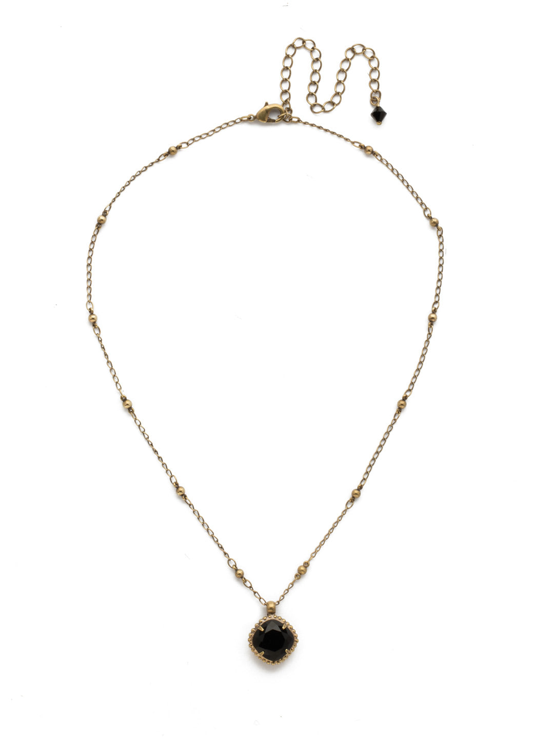 Cushion-Cut Solitaire Necklace - Sorrelli Essentials - NDS50AGJET
