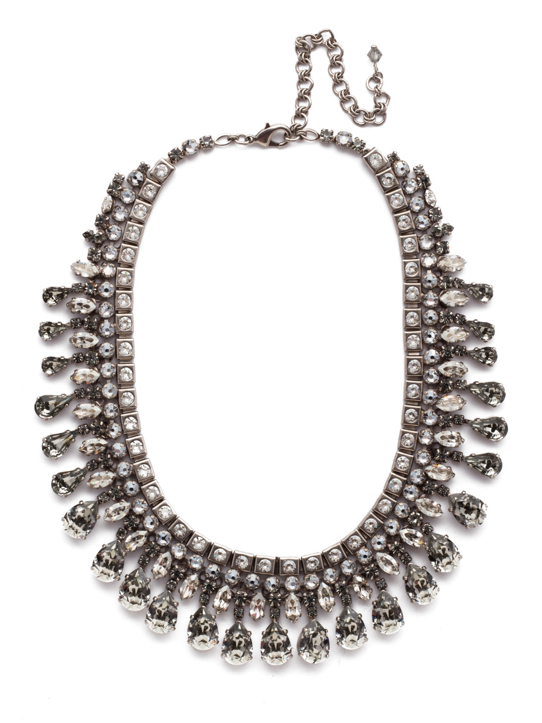 Silver Shade Bib Statement Necklace - NSP27ASSSH