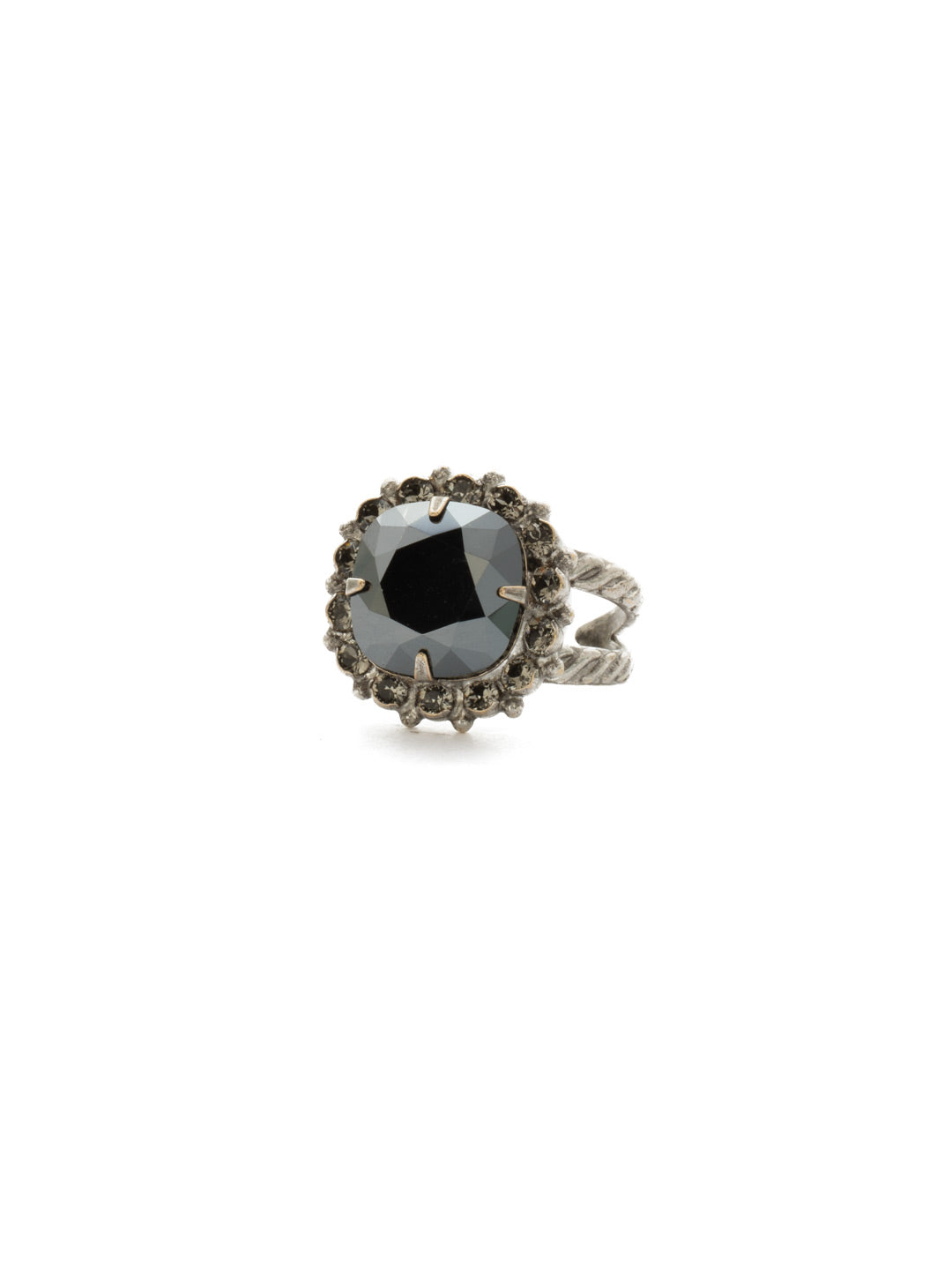 Crystal Cushion-Cut Ring - RCR112ASBON