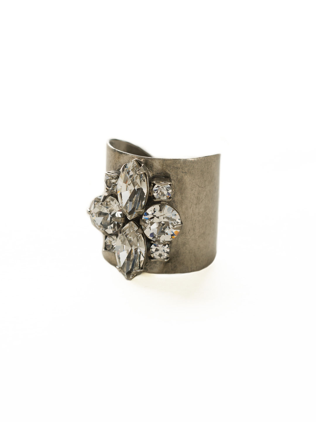 Flower Navette Cuff Ring - RCW49ASCRY
