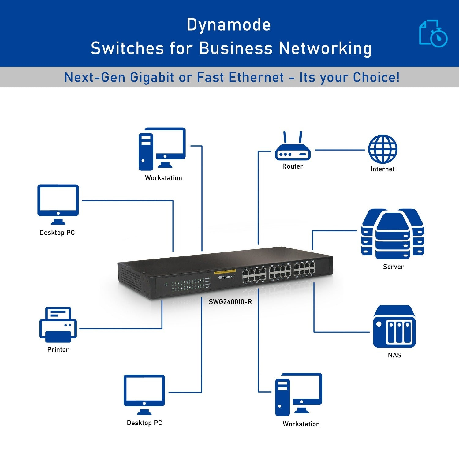 Dynamode SWG240010-R 24 Port Gigabit Rackmount Switch