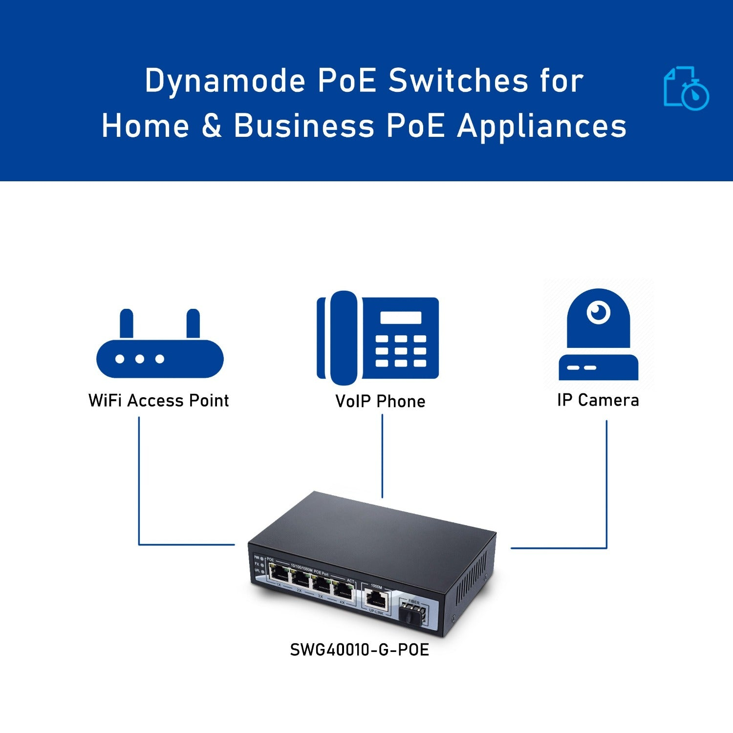 Dynamode SW40010-G-POE 4 Port Gigabit Ethernet POE Switch