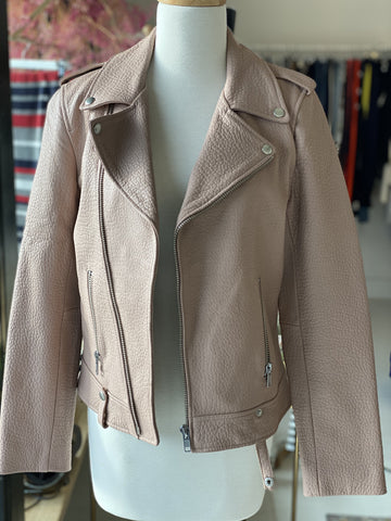 Ena Pelly pale pink leather jacket